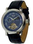 Minoir Uhren - Modell Mistral silber/blau mit offener Unruhe