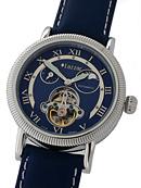 blaue Armbanduhr mit offener Unruh