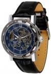 Minoir Uhren - Modell Laval silber / blau - Teilskelettuhr