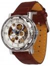 Minoir Uhren - Modell Laval silber / braun - Skelettuhr